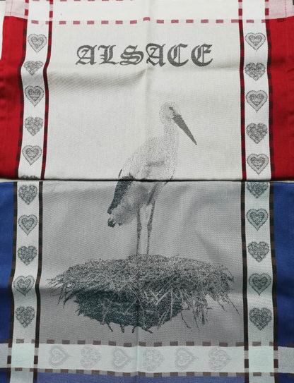 torchon Alsace. Torchon jacquard motif cigogne