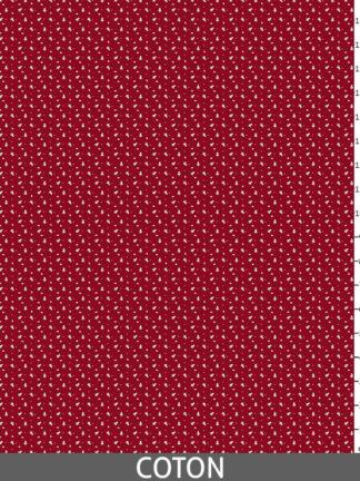 Tissu Sapins imprimés sur fond rouge.